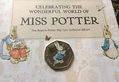 Beatrix Potter 50p Uncirculated Coloured The Tale Of Peter Rabbit 2017