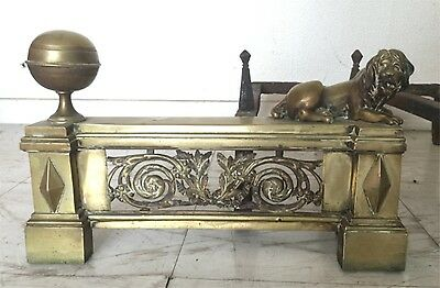 Imposing Pair of Andirons Lion Time Empire Bronze Golden French Fire-Dogs XIX°
