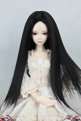 """BJD Doll Wig 7-8""""1/4 SD DZ DOD LUTS Black Long Straight Parted In The Middle"""