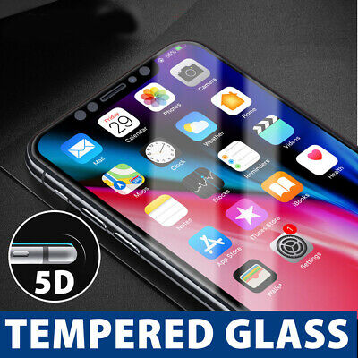 5D Full Coverage Tempered Glass Screen Protector for Apple iPhone X 8 7 6s Plus