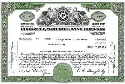 Rockwell Manufacturing Company, 1972 (500 Shares)