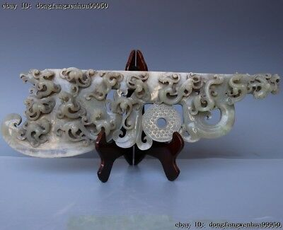 China Natural Old He Tian White Jade Dynasty Beast Dragon Coin Axe Hatchet