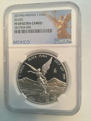 2017Mo PROOF 1oz Silver Libertad NGC PF 69 UCAM - Mexico Label - Choice coins !!