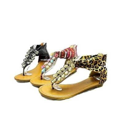 Ladies Metallic flat beaded sandals shoes