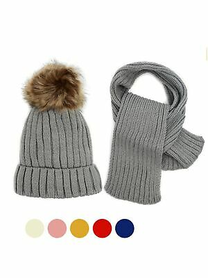 Kids Winter Knitted Fur Pom Beanie Hat Scarf Set for boys and girls