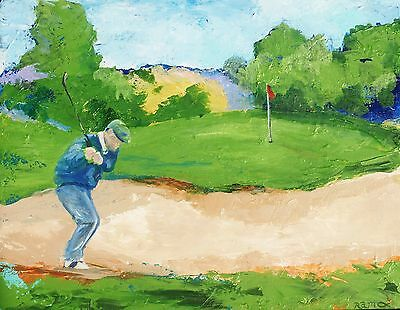 """Out of the Sand Golf Acrylic Painting by RAMfish Artist Original Signed 16""""x20"""""""