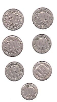WWII era, Russia CCCP 20, 15,10 Kopeks 1941-43 , 7 coins -- circulated