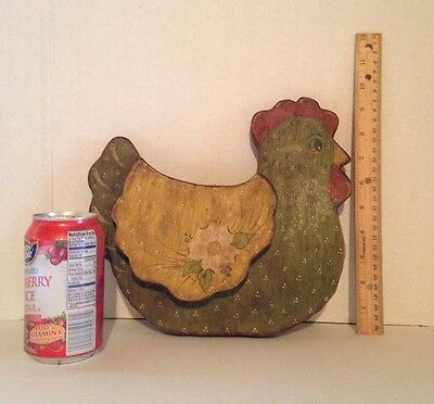 Vintage Country Prim Handcrafted Wood Chicken Shelf Sitter Country Farmhouse