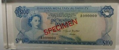 Bahamas 100 dollars 1968 specimen banknote world paper money laminated plastic