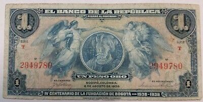 Colombia peso oro 1938 banknote world paper money