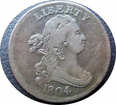 1804 Draped Bust 1/2C Half Cent    *Crosslet 4 Stems     *Very Fine Condition