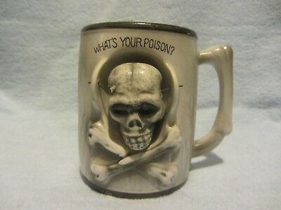 Skull and crossbones mug ceramic japan whats your poison cup