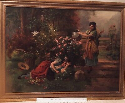 antique oil painting by artist Antoine Guibert French 19th century!!