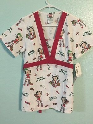 Betty Boop Cartoon Scrubs top XS Christmas Candy Cane Striper Scrub