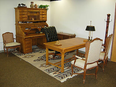 National Mount Airy CEO Solid Oak Roll Top Desk Complete Office Setup 10 Pieces