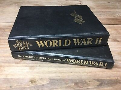 The American Heritage Picture History of WWI & WWII Books Lot 1964 1966 Vtg Set