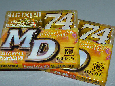 "2 Stück. Maxell MD 74 Gelb - MiniDisc -  ""Slide Up Case ""   NEU in OVP - Sealed"