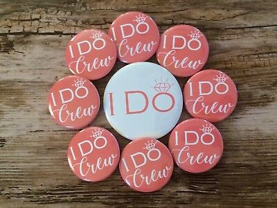 Coral I Do Crew Bride and Bachelorette Party Button Set