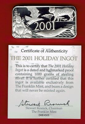 Franklin Mint Christmas Ingot. Very hard to find 2001, 1,000 grains