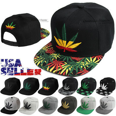 Baseball Cap Snapback Hip Hop Hat Weed Leaf Pot Cannabis Marijuana Adjustable