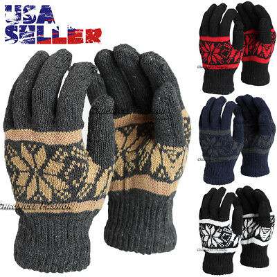 Winter Warm Gloves Knit Blend Soft Stretch Ski Mitten One Size Knitted Men Women