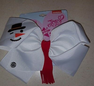 New JoJo Siwa Signature Large Hair Bow Snowman Holiday Bow