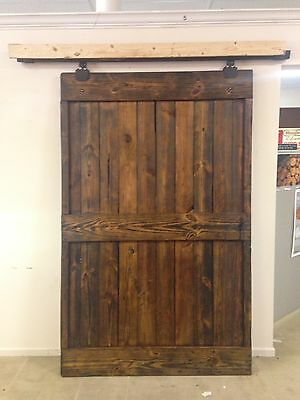Antique Primitive Dark Finished Barn Door With Rollers And Track/pick-Up Only