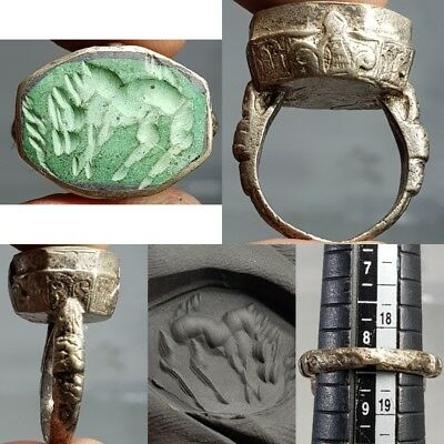 Turquoise Intaglio Stone Old Silver Beautiful Ring   # B2