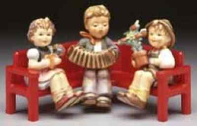 REDUCED - Red Wooden Bench - Hummel Accessory Item For Your Hummel Figurines