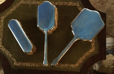 Art Deco 1930 Sterling Silver Hairbrushs and Mirror Set- Blue Guilloche Enamel