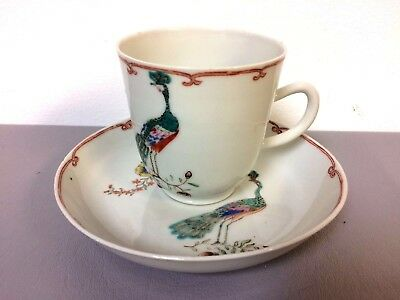 18th Century Chinese Famille Rose Cup & Saucer w/ Peacocks Decoration