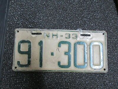 1933 New Hampshire NH License Plate 91-300