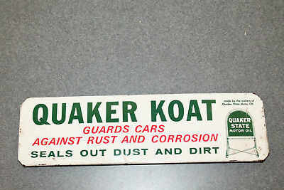 Vintage Quaker State Oil  '' Quaker Koat '' Metal Display Sign
