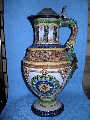 Antique Amazing Mosaic German Stein Lion Heads Face Mask Mettlach Quality #1876