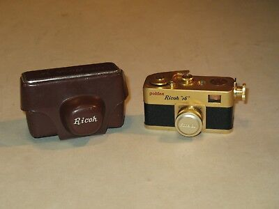 rare 1957 GOLDEN RICOH 16 SUBMINIATURE CAMERA IN CASE ~ VERY NICE~ HAS FILM