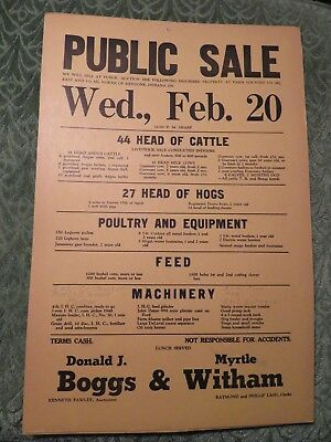 Mentone Indiana Public Sale Poster Sign Farm Machinery Cattle Antique
