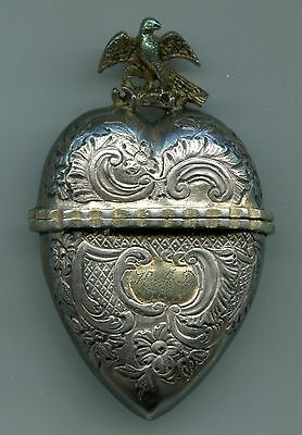 Vinaigrette Heart or Pill Box Gold Washed Silver 18C - Austrian Imperial Eagle