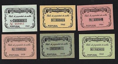 LOT of 6 vintage Ownership Cards RACE PIGEON / DOVE Ring / Bird 1950/60 Portugal