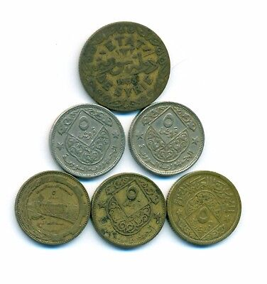 Syrian Coins 6 PCS Different DATES  (( 5 Piasters ))  Fine