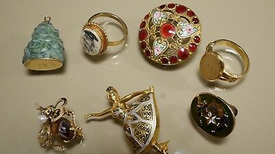 lot of antique& vintage 10k,12k gold filled  enamel pendents/rings/Brooches