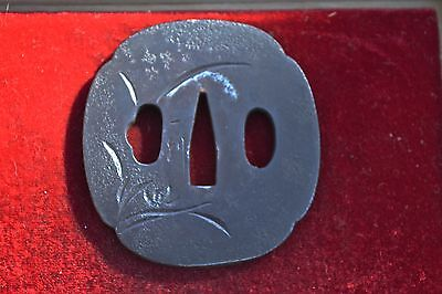 Antique Japanese Samurai Katana Sword Iron Simple Floral Signed Tsuba