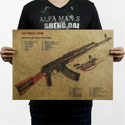 Gun Assault Rifle AK47 Modified Structure Chart Kraft Paper Poster Art Decor GT