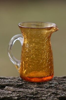 """Vintage Amber Hand-Made Crackle Glass Pitcher (4"""" tall)"""