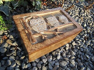 Hand Carved Made Mango Wood Wooden Owl Bird Jewellery Box Chest Case Holder