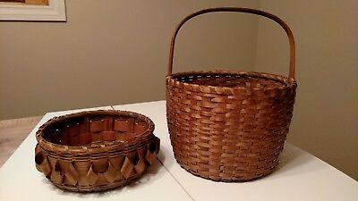 2 Antique Great Lakes Indian Baskets Split Ash, 1 With Curls