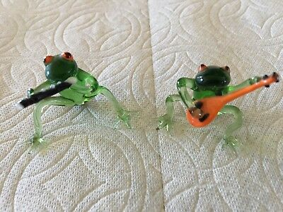 2 Vintage German Hand Blown Glass Miniature Frogs With Instruments Figures