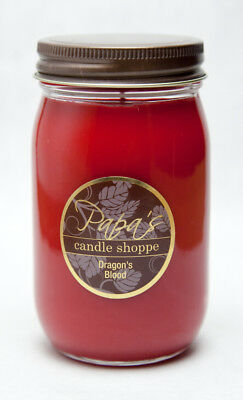 Papa's Candle Shoppe Dragons Blood 16oz Mason Jar, Highly Scented Soy Candles!