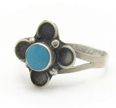 Turquoise Silver Ring Blue TAXCO MEXICO 925 Round Bezel Set Size 6 Vintage