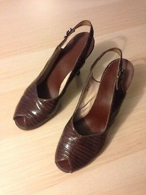Ladies Vintage Peep Toe Slingback High Heels Size 7 A