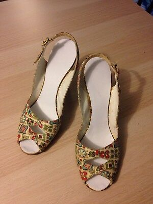 Ladies Vintage Atomic Print Fabric Peep Toe Slingback High Heels Size 7A